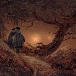 Caspar David Friedrich Zwei Männer in Betrachtung des Mondes. Um 1819/20 Öl / Leinwand, 35 x 44,5 cm Gal. Nr. 2194 Galerie Neue Meister Staatliche Kunstsammlung Dresden